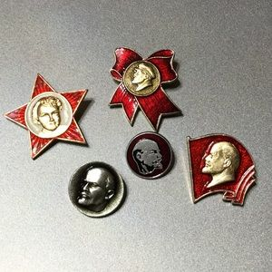 Soviet era Vladimir Lenin collection enameled pins